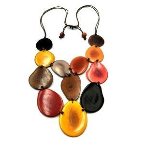 Boho Organic Multi Color 12 Wood Slab Necklace